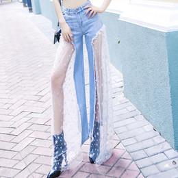 2020 lunghi jeans larghi gambe Jeans a gamba larga in jeans a gamba larga patchwork a gamba larga a gamba larga da donna Jeans a vita alta in denim a vita alta sconti lunghi jeans larghi gambe
