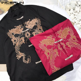 half shirt pattern Coupons - INCERUN Men Vintage Printed Shirt Half Sleeve Stand Collar Shirt Chinese Style Tang Suit Casual Button Retro Dragon Pattern Tops