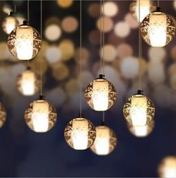 ciondolo in stile americano Sconti Cristallo LED sfera di vetro Lampada a sospensione meteora pioggia meteorica doccia Stair Bar Droplight Chandelier Lighting AC110-240V