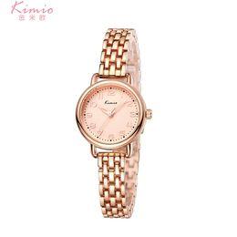 красочные женские часы Скидка KIMIO Colorful Quartz Diamond Watch Alloy Rose Gold Bracelet Watch Women Dress Woman Watches  Women's Watches K6228