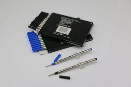 ricaricare le penne a rullo Sconti Nuovo lotto di 12 pezzi MB Rollerball Pen Black / Blue 710 Refills Medium Point può miscelare collocazione con coperchio di ricarica