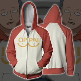 cosplay hoodies zipped Coupons - Anime ONE PUNCH-MAN Saitama Full Zip Thin Hoodies Mens Womens Pullover Tops Coat Fashion Jumper Sweatshirt cosplay