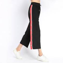 2020 vestito vestito donne codice Pop2019 Will Code Wide Wear Donna Summer Wear Pattern Knicker Vestito europeo Chalaza Knitting Side Stripe Pantaloni a vita alta vestito vestito donne codice economici