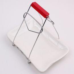 Morsetto di piatto online-Utensili da cucina prendono il morsetto piatto utensili da cucina anti-scottatura clip in acciaio inox morsetto piatto multifunzionale
