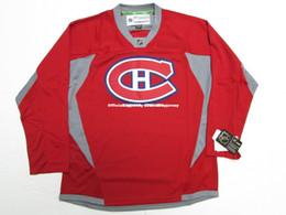 Camisetas canadienses baratos online-Barato personalizado MONTREAL CANADIENS HABS PRACTICA ROJA HOCKEY JERSEY punto añadir cualquier número cualquier nombre Mens Hockey Jersey GOALIE CUT 5XL