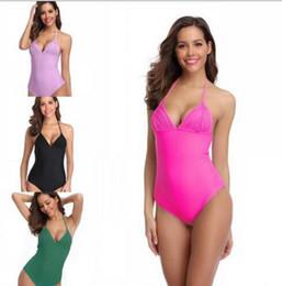 einteilige badeanzug string bikinis Rabatt NEUE Frauen BIKINI One Pieces einfarbig design Badeanzug Multi Strings Sommer strand bademode für frauen bikini dame badeanzug freies shipt