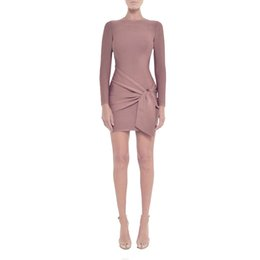 3528d4a19df Hashupha 2019 Winter New Style Bodycon Sexy Long Sleeve Zippers Mini O Neck  Dress Evening Party Celebrity Apricot Dresses