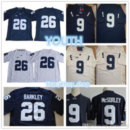 d609c2055 Youth #26 Saquon Barkley #9 Trace McSorley Boys Navy Blue White Kids Penn  State Nittany College football jerseys Cheap