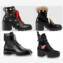 Wholesale Cowboy Boots - 2019 Designer Boots genuine Lady leather Laureate Platform women High Heel Martin Desert boots Luxury brand designer shoes fashion With box
