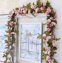 Seide hängende wand blumen dekor online-230cm / 91in Silk Rose Hochzeitsdekorationen Ivy Vine Künstliche Blumen Arch Decor mit grünen Blättern hängende Wand Girlande