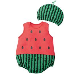 Deutschland Babykleidung Cartoon Jungen Mädchen Strampler Baumwolle Tier Und Obst Muster Säuglingsoverall + Hut Set Neugeborenen Kostüme Versorgung
