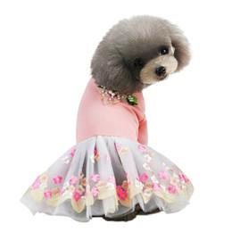 Vestiti extra piccoli per cuccioli online-Summer Dog Dress Vestiti per cani Pet Gonna ricamata per cani di piccola taglia Abbigliamento per animali Cuccioli Gonne Abiti con tulle per gatti ropa para perro
