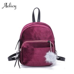 pendant design gold small Promo Codes - Aelicy Women Velvet Double Shoulder Bag Fluff Ball Pendant Mini Small Backpack lady Fashion design casual lightweight satchel