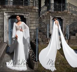 xales de vestido Desconto 2019 Sexy Lace Appliqued Sereia Vestido De Noiva Sexy Barato V Neck Sweep Train Praia Bohemoan Boho Vestido De Noiva Com Xaile