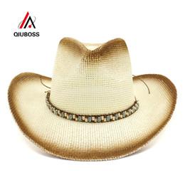 sombrero de vaquero de paja de papel Rebajas QIUBOSS Papel de pulverización de pintura marrón Sombreros de vaquero de paja Mujeres Hombres Verano Sombrero de sombreado de ala ancha Sombrero de playa Sombrero de sol de Panamá Sombrero de sol