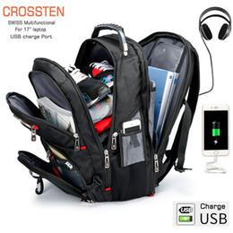 """Sacolas de laptop suíças on-line-Crossten suíço multifuncional 17,3 """"laptop mochila manga case bag à prova d 'água usb charge porto mochila caminhadas saco de viagem j190630"""