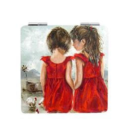 berühmte karikaturmalereien Rabatt JWEIJIAO niedlichen schwestern Berühmte gemälde Druck Tragbare spiegel schöne fee espejo de maquillaje Cartoon kleine spiegel ST92