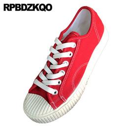 aa887b288 Plataforma Sapatos de Lona Branca Pano 2019 Muffin Rendas Até Respirável  Dedo Do Pé Redondo Sapatilhas Mulheres Sneakers Flats Confortável Chinês  Vermelho