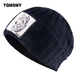 Bonnet de loup en Ligne-TQMSMY chapeaux d'hiver pour les hommes et les femmes de la mode Bonnet tricoté avec Wolf Patch Réchauffez Double couche Knit Skullies Cap Hip Hop Hat TBLT