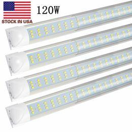 Lampe de lumière à tube led intégrée en Ligne-Tubes de 8FT LED T8 Double rangée de 8 pieds T8 intégrés ampoules à LED 120W 8500LM 2.4M SMD2835 led lampes d'éclairage fluorescent