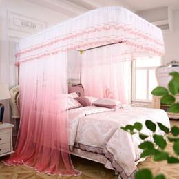 ropa de cama princesa moderna Rebajas Nuevos mosquiteros de guía en forma de U, soporte de acero inoxidable, cuerda, cuerda, cama doble, aterrizaje, cama de mosquitero de 1,5 m