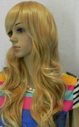 2019 pelucas onduladas largas rubias oscuras WIG LL 001146 Mujeres Dark Gold Blonde Mix Wavy Japan Kanelaon Seda Cosplay de pelo largo Peluca llena rebajas pelucas onduladas largas rubias oscuras