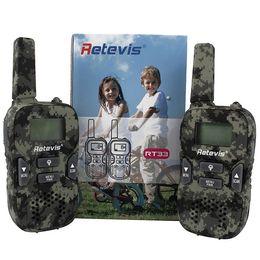 Radios gmrs online-Walkie Talkie Radio de juguete civil para niños, portátil, portátil, retroalimentación Retevis RT33, camuflaje GMRS / PMR UHF Interfono LED