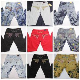 lavagem de cristal Desconto Mens marca de moda Jeans Cristal Studs Denim Calças Designer lavado afligido motociclista clássico Calças retas JS34