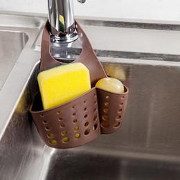 Prateleiras de pia on-line-Plástico PVC de suspensão ajustável cestas de armazenamento Sink Sponge titular de sabão para Portadores Cozinha Organização de armazenamento Racks Individual