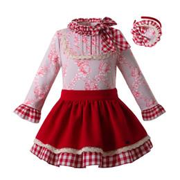 Gonna rossa del partito online-Pettigirl 2019 New Spring Toddler Girl Clothes Set con fascia per capelli Floral Tops + Red Skirts Party Kids Designer Abbigliamento G-DMCS107-C66