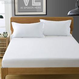 Lenço de cama duplo branco on-line-Têxtil de casa Pure White Color Algodão Lençol Lençol com Elástico Capa de Colchão Colcha de Linho Gêmeo Completa Rainha KingSize