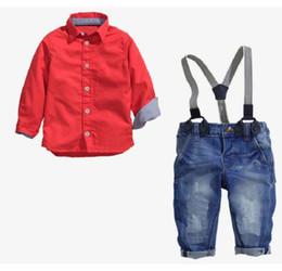 usura del ragazzo americano Sconti 2019 Nuovo abbigliamento per bambini del commercio estero Una camicia rossa + cintura Jeans Abito per ragazzi di fan europei e americani alla moda Chunqiu TAGLIA 2T-7T