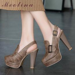 17a0c80f08 Meotina Mulheres Bombas De Salto Alto Fivela Plataforma Spike Heels  Slingbacks Sapatos Sexy Super Alta Sapatos Senhoras Tamanho Grande 34-46