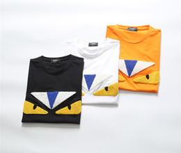 bambus-polo-shirts Rabatt FENDI 2019 Sommer Neue Ankunft Hohe Qualität Designer Herrenbekleidung T-Shirts FF AUGEN Stickerei Druckt-stücke Größe M-3XL 8009