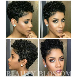 human hair haircut Coupons - Short Wigs Brazilian Virgin Hair Kinky Curly Hair Lace Front Wigs Human Hair Wigs Short Haircuts For Black Women Lace Frontal Wig