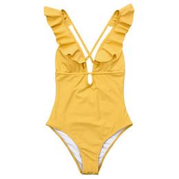 c27c45224d763 Burgundy Heart Attack Falbala Yellow One-piece Swimsuit Women Ruffle V-neck  Monokini 2019 New Girls Beach Bathing Suit Swimwear