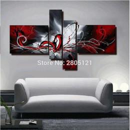 dipinti astratti bianchi neri rossi Sconti quadri modulari dipinta a mano pittura a olio rosso nero bianco tela arte della parete rossa immagine muro nero per soggiorno