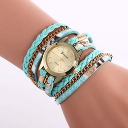 Argentina Mujeres simples cadena de impresión reloj de cuero moda señoras pulsera reloj al por mayor nueva dama vestido de mujer relojes de pulsera de cuarzo supplier ladies wrist chain watch Suministro