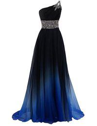 um ombro império cintura vestido de baile Desconto Um Ombre Vestidos De Baile Longo Ombre Vestidos De Noite Cor Gradiente Império Cintura Chiffon Preto Azul Royal Barato Prom Vestido Formal Pageant
