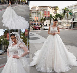 Appliques abito marocchino online-2019 eleganti abiti da sposa in pizzo abito da sposa sposa marocchino modesto abito da sposa in tulle appliques usura del partito