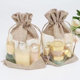 Borse da regalo in lino online-10x14cm due lati gioielli sacchetto di tela finestra cosmetici fascio bocca stoccaggio coulisse matrimonio sacchetto regalo caramelle sacchetti 50pc