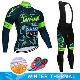 2019 saxo tinkoff велоспорт джерси 2019 Майо Ropa Ciclismo Invierno Tinkoff зима Велоспорт Джерси тепловой флис с длинным рукавом Велоспорт одежда набор MTB велосипед одежда