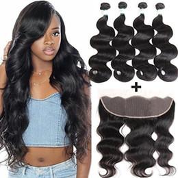 Body Wave reines Haar mit vorderem freiem Teil 13x4 Ohr an Ohr unverarbeitetes brasilianisches Remy-Haar 4 Bundles mit Spitzen-Frontverschluss von Fabrikanten