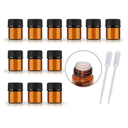 Frasco vial de manualidades online-1ml 2ml 3ml Botella de goteo de vidrio ámbar para aceites esenciales Aromaterapia Manualidades Reductor de orificios y tapa Frascos pequeños de aceites esenciales