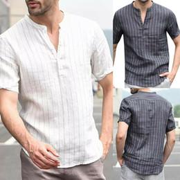 Blusen lösen kurze ärmel online-Herren Leinen T-Shirt Polo Lässige Bluse Baumwolle Lose Tops Kurzarm T-Shirt