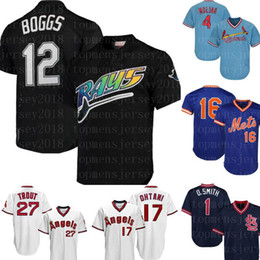 уэйд боггс джерси Скидка Тампа Бэй 12 Wade Boggs Rays Jersey Тампа Бэй Рэй Ретро Сетка Черный Бейсбол Джерси Вышивка Логотипы