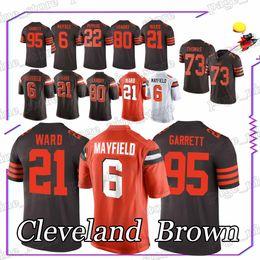 Marrones camiseta 73 online-Brown Baker 6 Mayfield Denzel 21 Ward Joe 73 Thomas Myles 95 Garrett Nick 31 Chubb jerseys de hombre