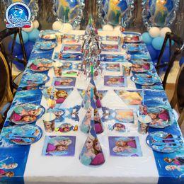 placas congeladas Desconto 6 pçs / set Azul Congelado Princesa Decoração Do Partido Kit Placas / Copos / Guardanapos / Tampa De Tabela / Headband Aniversário Decora ...