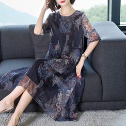 vestido de mulher velha Desconto Plus Size Chiffon Vestidos de verão de meia-idade Vestidos de nova mãe Vestidos de meia-idade e de velhice para mulher Vestidos de estilo longo impressos