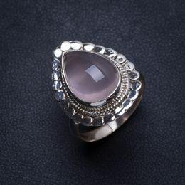 rosenquarzring sterling silber Rabatt Natürlicher Rosenquarz Handgemachter einzigartiger 925 Sterling Silber Ring, US-Größe 8 T5940